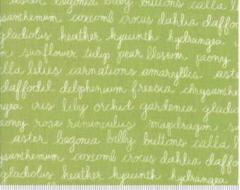 Green Text Fabric by Lella Boutique, Olive's Flower Market for MODA fabrics