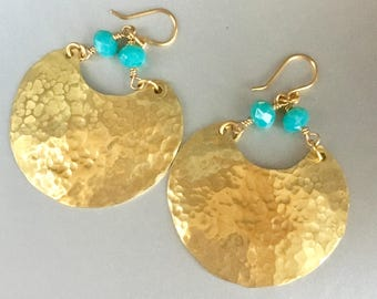 Hammered Brass Disks with Turquoise Crystal Accent Handmade  Earringa