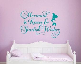 Mermaid Wall Decal Mermaid Kisses and Starfish Wishes Decal Mermaid Vinyl Decal Beach Wall Decal Mermaid Decal Girl Bedroom Decal