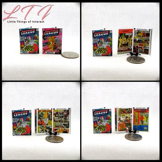 2 Miniature JUSTICE LEAGUE of AMERICA Comic Books Dollhouse Readable 1:12 Scale *2 For 1* Wonder Woman Superman Batman Aquaman Super Hero