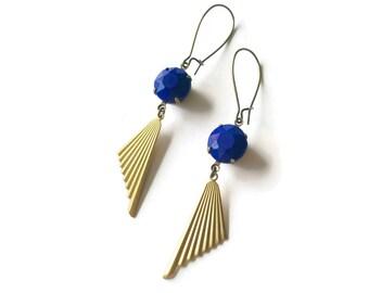 Cobalt Blue Earrings Art Deco Style - Fans Earrings - Ribbed - Geometric Jewelry - Triangle  - Achilles Earrings (SD872)