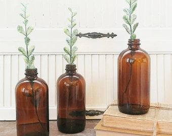3 vintage Duraglass apothecary bottles vintage farmhouse decor