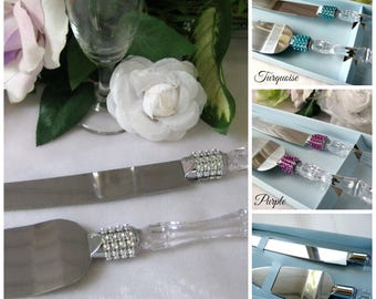 Wedding Cake Knife Serving Set for Wedding, Quinceanera, Sweet 16, Birthday, Baptism, Banquet, Baby Shower, Anniversary, Purple, Turquoise