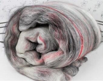 Spinning batts, Wooly Batts merino art batt in Smoke Screen. 2 ounces carded needle felting fiber, spin your own corriedale merino art batt