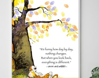 Calvin & Hobbes Under the tree Quote and Thumb Print tree poster, Finger prints Guest book poster, Calvin and Hobbes Print