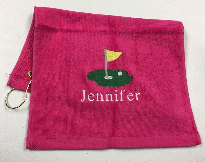 Personalized golf towel, embroidered towel, golf, personalized gift, grandma gift, monogrammed, bridesmaid gift, groomsmen gift, golf gift,