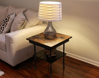 Steel and Wood Side Table