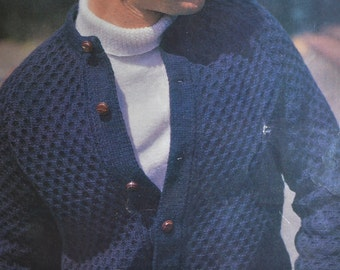 PDF men's cardigan windcheater vintage knitting pattern pdf INSTANT download men's cable sweater pattern only 1970s