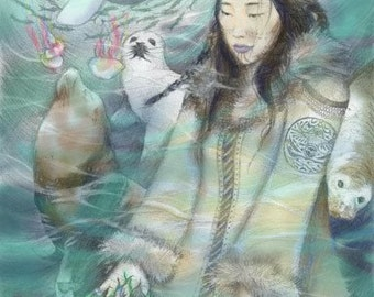 Sedna, Inuit Sea Goddess (Colour Version), A4 Fine Art Drawing Print