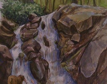 Bear at The Falls, 16 x 20 Original Watercolor,ONE OF A KIND, Not a Print,