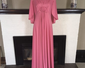 1970's vintage batwing dress / cape / long pink dress