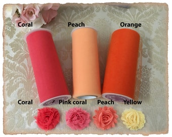 Samples CORAL and PEACH Tulle, chiffon flowers samples and Satin Ribbon swatches