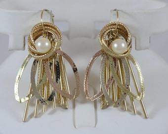 14k Yellow Gold Interchangeable Dangles 6mm Pearl Hoop Hook Clasp Earrings 12.6g