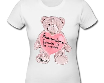 t-shirt personalized bachelorette party Beary pink hearts (pink Teddy bear hearts) location of the bride