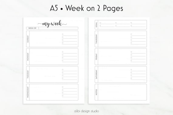 Weekly Planner A5 Planner Inserts Week on Two Pages Undated