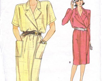 80s Womens Wrap Dress Long or Short Sleeves Vogue Sewing Pattern 9512 Size 8 10 12 Bust 31 1/2 to 34 UnCut Very Easy Very Vogue Patterns