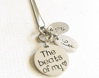 The beats of my heart - Mother's necklace - Hand stamped necklace - Family jewelry - Necklace with children's names - Personalized necklace