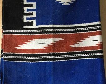 Hand Woven Souhtwestern Native Rug Blanket Throw Blue Rust and Black Bohemian Home Decor Boho style
