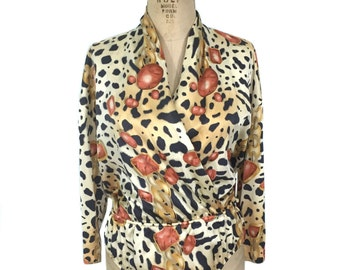 vintage 1980's ESCADA silk bodysuit / leopard print chains gems / one piece leotard / women's vintage bodysuit / tag size 40