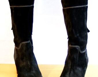 Boots, Black Suede Boots, Suede, Women Boots, Size US 7, EU Size 38