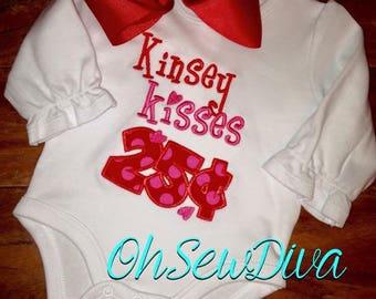 Girl's 25cent Kisses Valentine Applique Shirt / Onesie