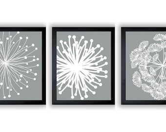 INSTANT DOWNLOAD Silver Grey White Set Of 3 Dandelion Art Printable  Abstract Art Flower Print Wall