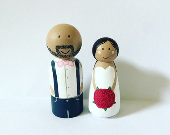 Wedding cake topper - custom peg dolls - peg people - Bride - Groom - Wedding gift - cupcake topper - personalized dolls