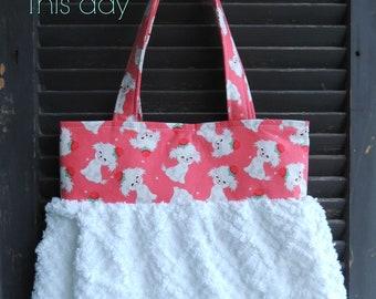 Handmade tote vintage Chenille & kitschy dog handbag cottage chic purse