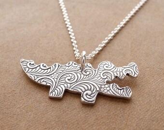 Alligator Necklace, Crocodile Necklace, Handmade Alligator Crocodile Charm, Fine Silver, Sterling Silver Chain, Made To Order