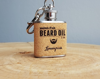 Beard Oil - Lemongrass Scent - 1 oz. Reusable Flask - Men's Grooming All-Natural Organic Oil - Cork Label