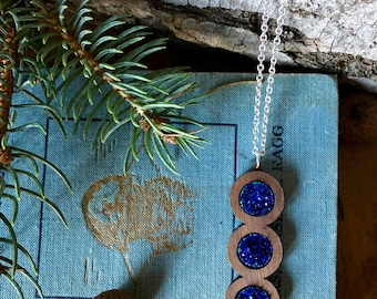 blue druzy and wood pendant, gift for her