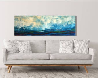 Large Horizontal Art Print - Blue Horizontal Landscape - Over the Couch - Over the Bed - Sky with Clouds Painting - Sky with Clouds Art