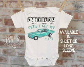 Countdown Until I Get My First Car Onesie® in Teal, Classic Car Onesie, Retro Onesie, Daddy Onesie, Boho Baby Onesie, Funny Onesie - 197C