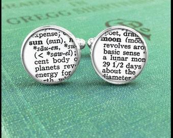 Silver or Brass Cufflinks - Sun and Moon Dictionary Text - Wearable Art- Handmade by Lisa Owens