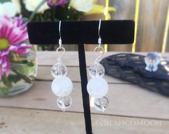 Quartz Beaded Drop Earrings