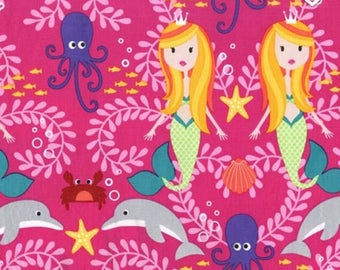 Michael Miller Fabric Mer-Mates Collection Siren Sisters Mermaids Tropical, Choose your cut