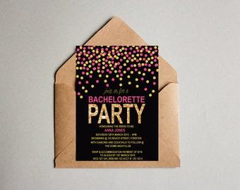 Glitter Pink Black Bachelorette Hen's Party Invitation