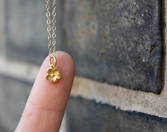 14k Gold Tiny Cherry Blossom Charm Necklace - Nature, Flower Inspired Fine Jewelry. Gift Idea for Her