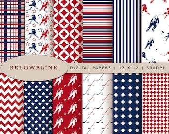 Hockey Digital Paper Pack, Scrapbook Papers, 12 jpg files 12 x 12 - Instant Download - DP225