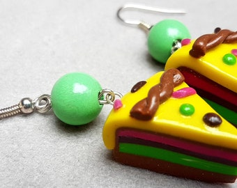 mango raspberry mint cake/cookie/handmade item/design/jewelry gift/trendy/unique jewelry/fimo/impressive/cute