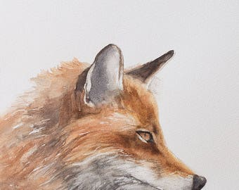 fox painting fox print fox wildlife painting animal painting peek a boo animal SEE PHOTOS to view all 15 PRINTS 11x14 halloween decor