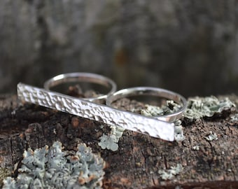 Bar Ring, Double Band Ring, Hammered Ring, Double bar ring, Sterling Silver Ring, Double Ring, Gifts for Her, Anniversary Gift for Her