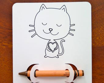 Cat Kid's Coloring Activity Page | Birthday | Party | Favor | Place Setting | Kitten | Pet | Animal