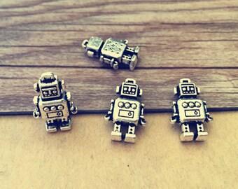 20pcs  Antique silver robot pendant charm 11mmx18mm