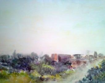Original Watercolor Cityscape painting, Original watercolor art, Abstract landscape painting, Watercolor wall art.