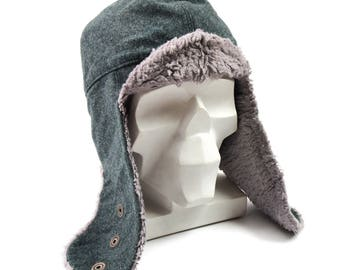 Original Swiss army winter cap Swiss military grey wool cold weather hat