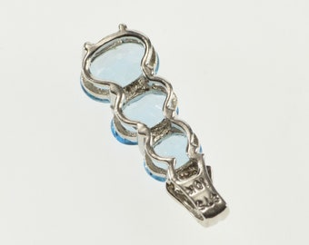 10K Oval Tiered Blue Topaz Diamond Accented Pendant White Gold