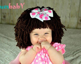 Halloween Costume, Baby Hat, Cabbage Patch Hat, Dora Costume, toddler Costume, Yarn Wig, Raggedy Ann Wig, Pageant Clothes