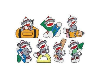 School Sock Monkey Combo Counted Cross Stitch PDF Pattern