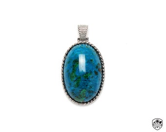 Chrysocolla Pendant, AAA Gem Quality, High Polishing, 316L Stainless steel, Made In Taiwan(05061114)
